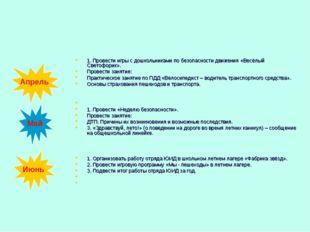 1. Провести игры с дошкольниками по безопасности движения «Весёлый Светофорик