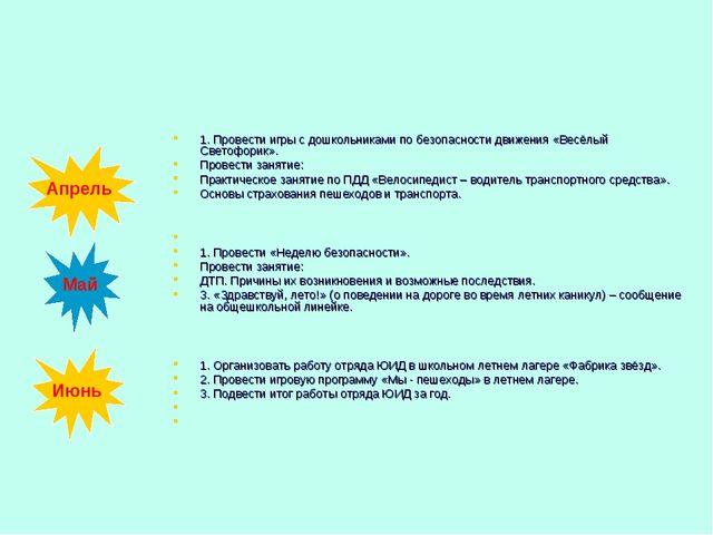 1. Провести игры с дошкольниками по безопасности движения «Весёлый Светофорик...