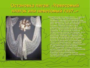 Остановка пятая: «Невесомый платок или невесомый газ?..» Оренбургский пуховый
