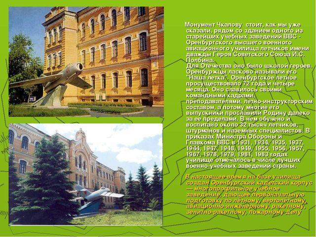 Монумент Чкалову стоит, как мы уже сказали, рядом со зданием одного из старе...