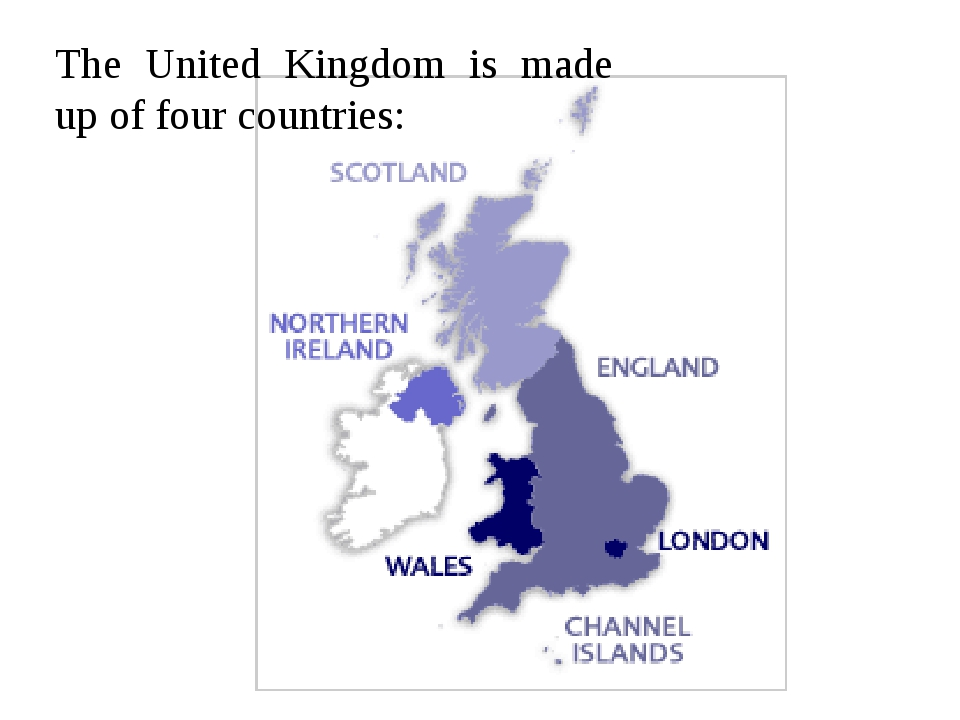 The United Kingdom is made up of four countries: