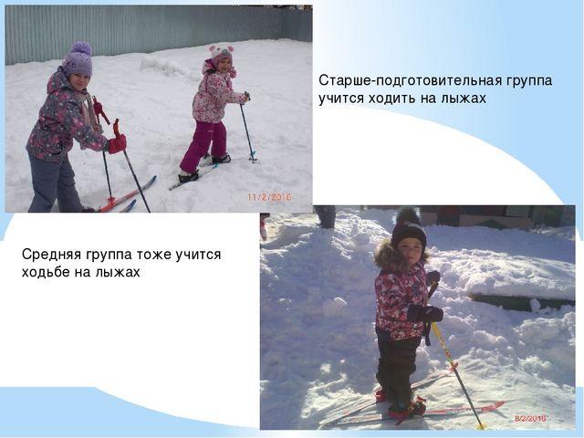 Старше-подготовительная группа учится ходить на лыжах Средняя группа тоже учи...