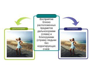 Восприятие близко расположенных предметов дальнозоркими (слева) и близорукими