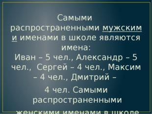 Самыми распространеннымимужскимиименами в школе являются имена: Иван – 5 че