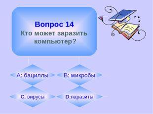Вопрос 14 Кто может заразить компьютер? А: бациллы B: микробы C: вирусы D:па