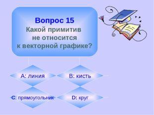Вопрос 15 Какой примитив не относится к векторной графике? А: линия B: кисть