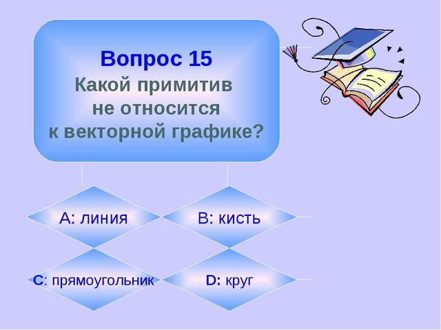 Вопрос 15 Какой примитив не относится к векторной графике? А: линия B: кисть...