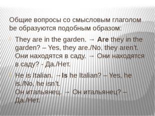 Общие вопросы со смысловым глаголом be образуются подобным образом: They are