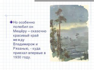 Но особенно полюбил он Мещёру – сказочно красивый край между Владимиром и Ряз