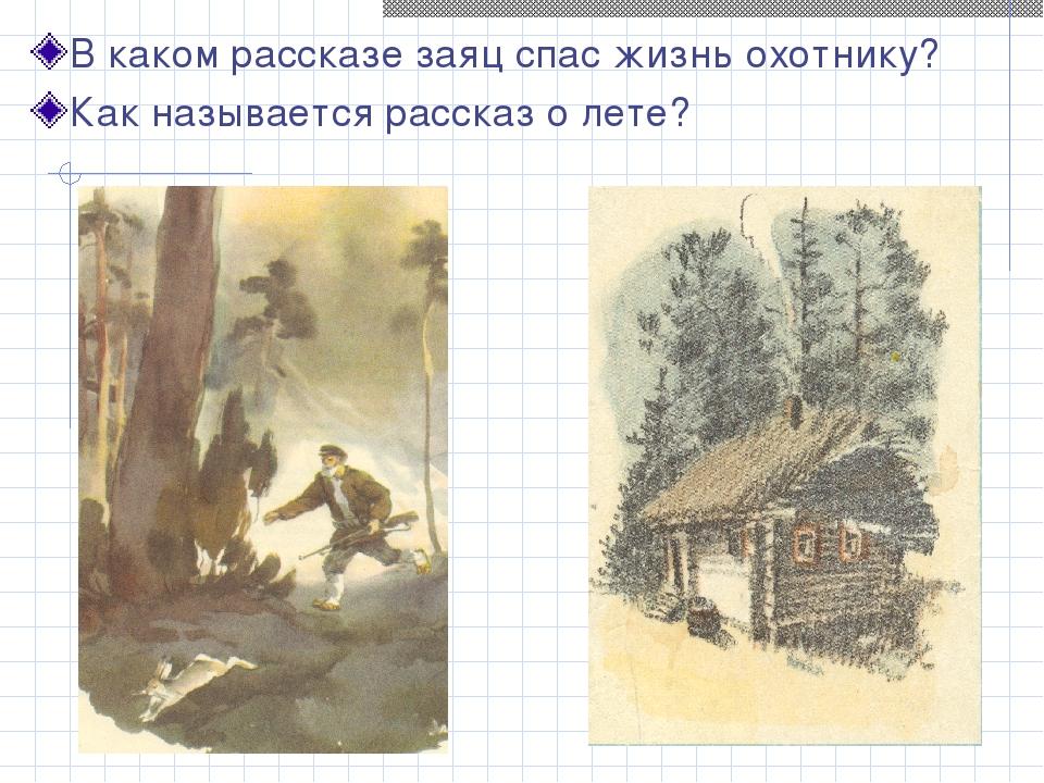 В каком рассказе заяц спас жизнь охотнику? Как называется рассказ о лете?