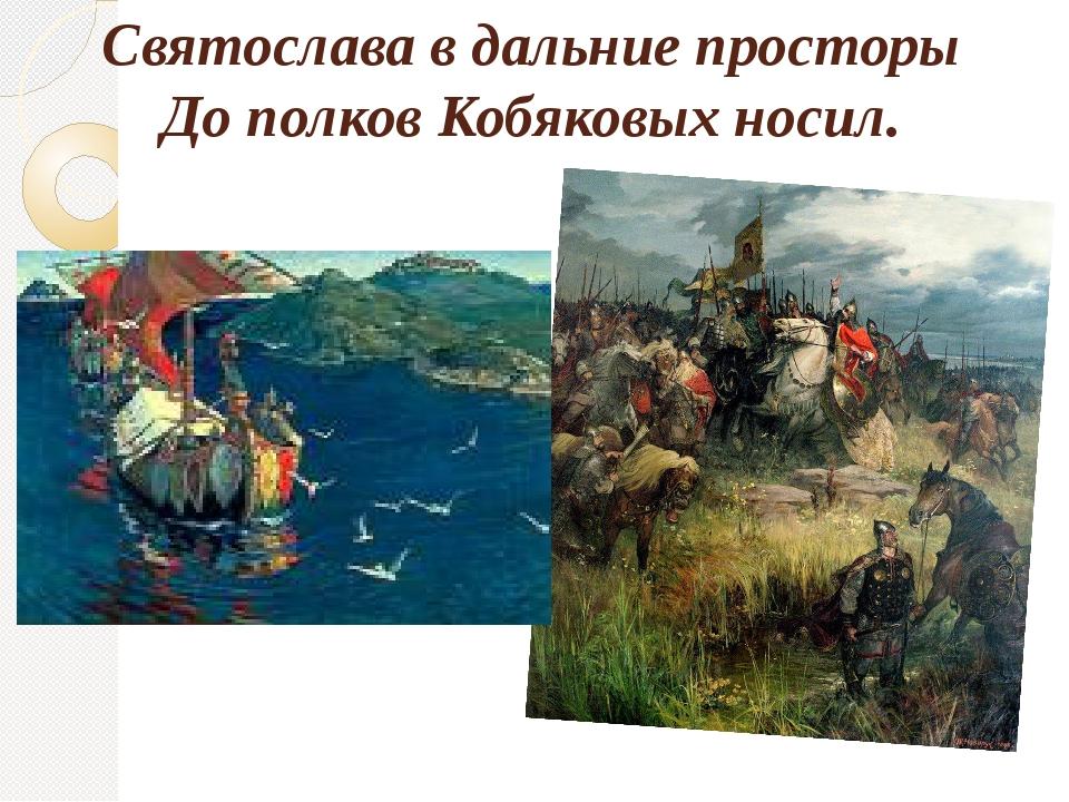 Святослава в дальние просторы До полков Кобяковых носил.