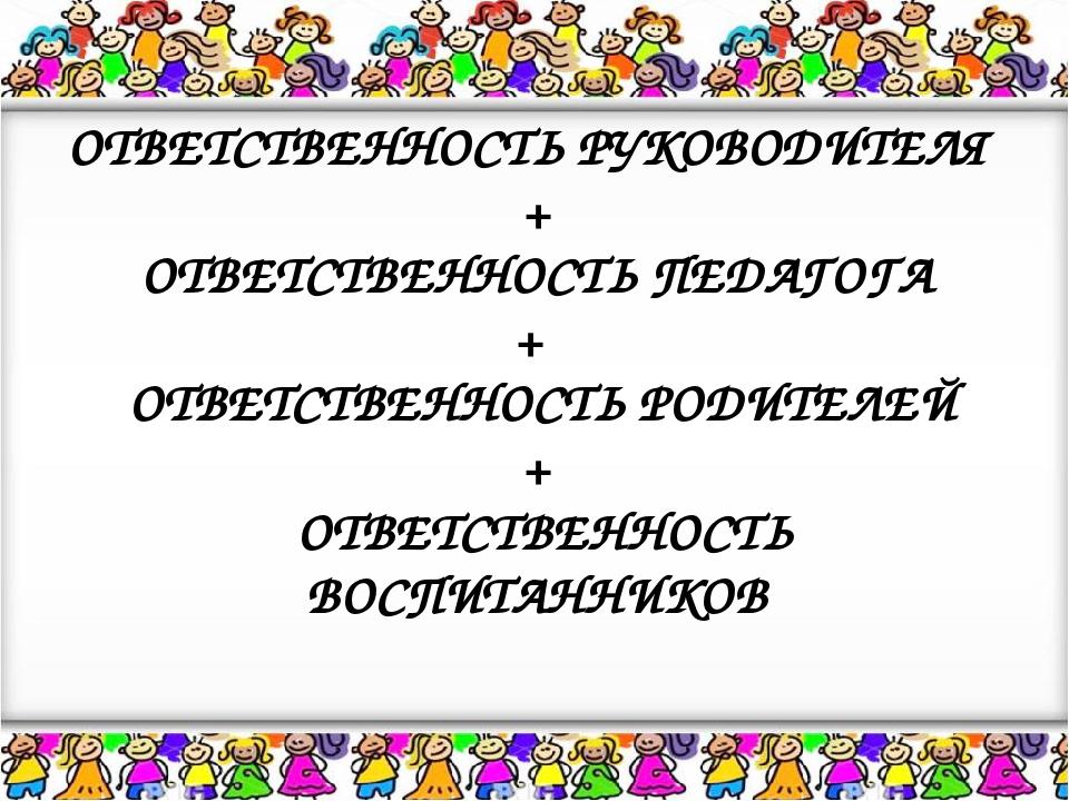 ОТВЕТСТВЕННОСТЬ РУКОВОДИТЕЛЯ + ОТВЕТСТВЕННОСТЬ ПЕДАГОГА + ОТВЕТСТВЕННОСТЬ РОД...