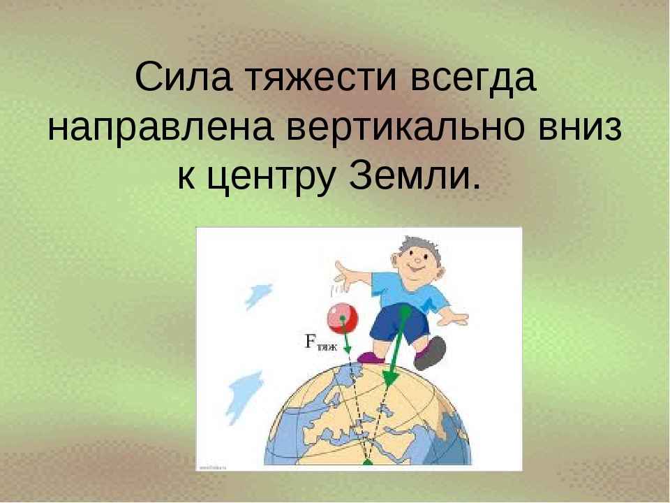 Сила тяжести всегда направлена вертикально вниз к центру Земли.