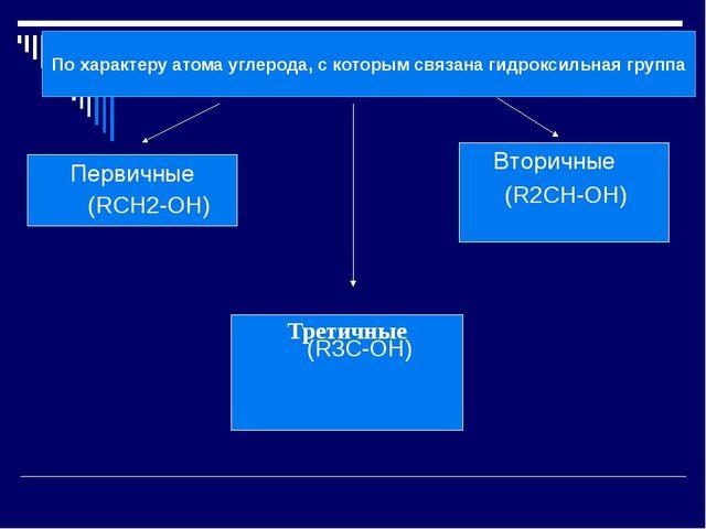 По характеру атома углерода, с которым связана гидроксильная группа Первичны...