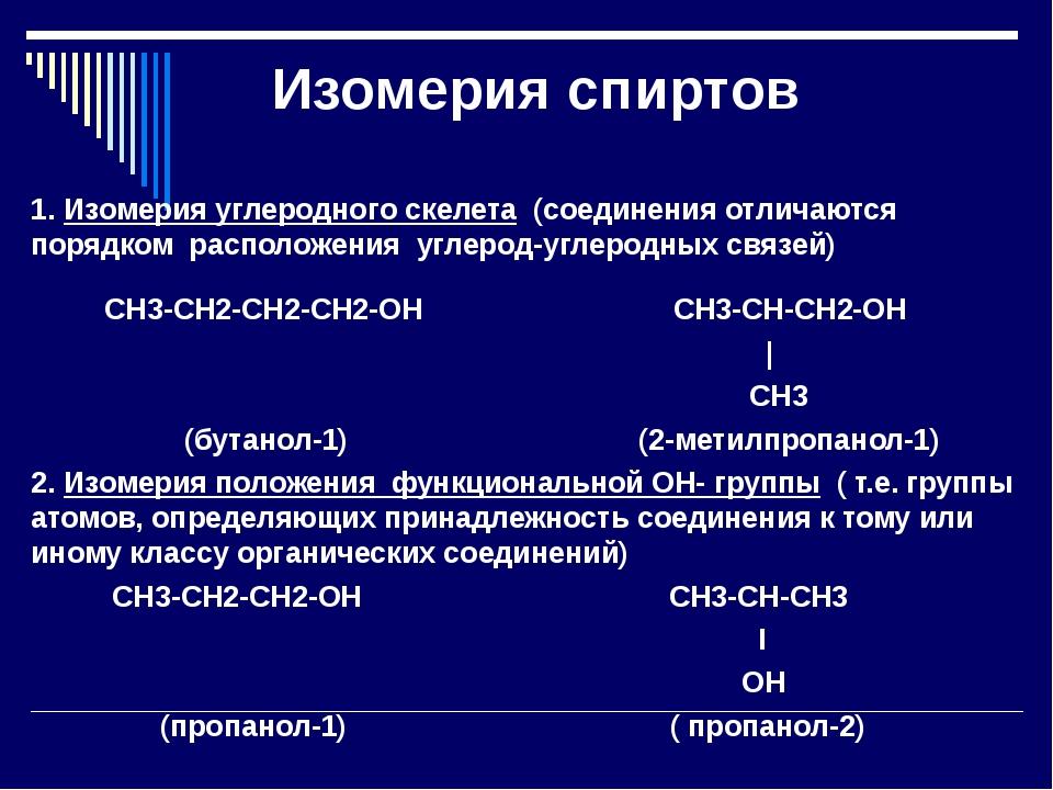 Изомерия спиртов 1. Изомерия углеродного скелета (соединения отличаются поряд...