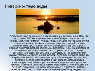 Поверхностные воды Алтайский край пересекает в своем верхнем течении река Обь