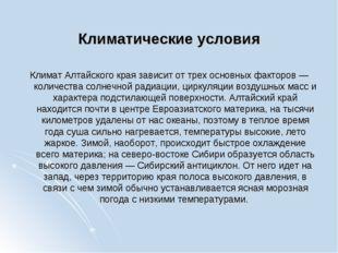 Климатические условия Климат Алтайского края зависит от трех основных факторо