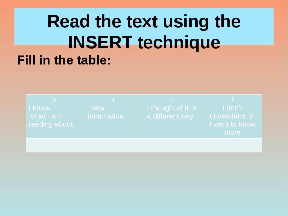 Read the text using the INSERT technique Fill in the table: V Iknow what I am...