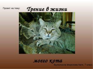 Трение в жизни моего кота Проект на тему: Выполнила Миронова Катя, 7 класс