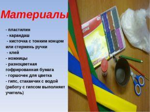 Материалы - пластилин - карандаш - кисточка с тонким концом или стержень руч