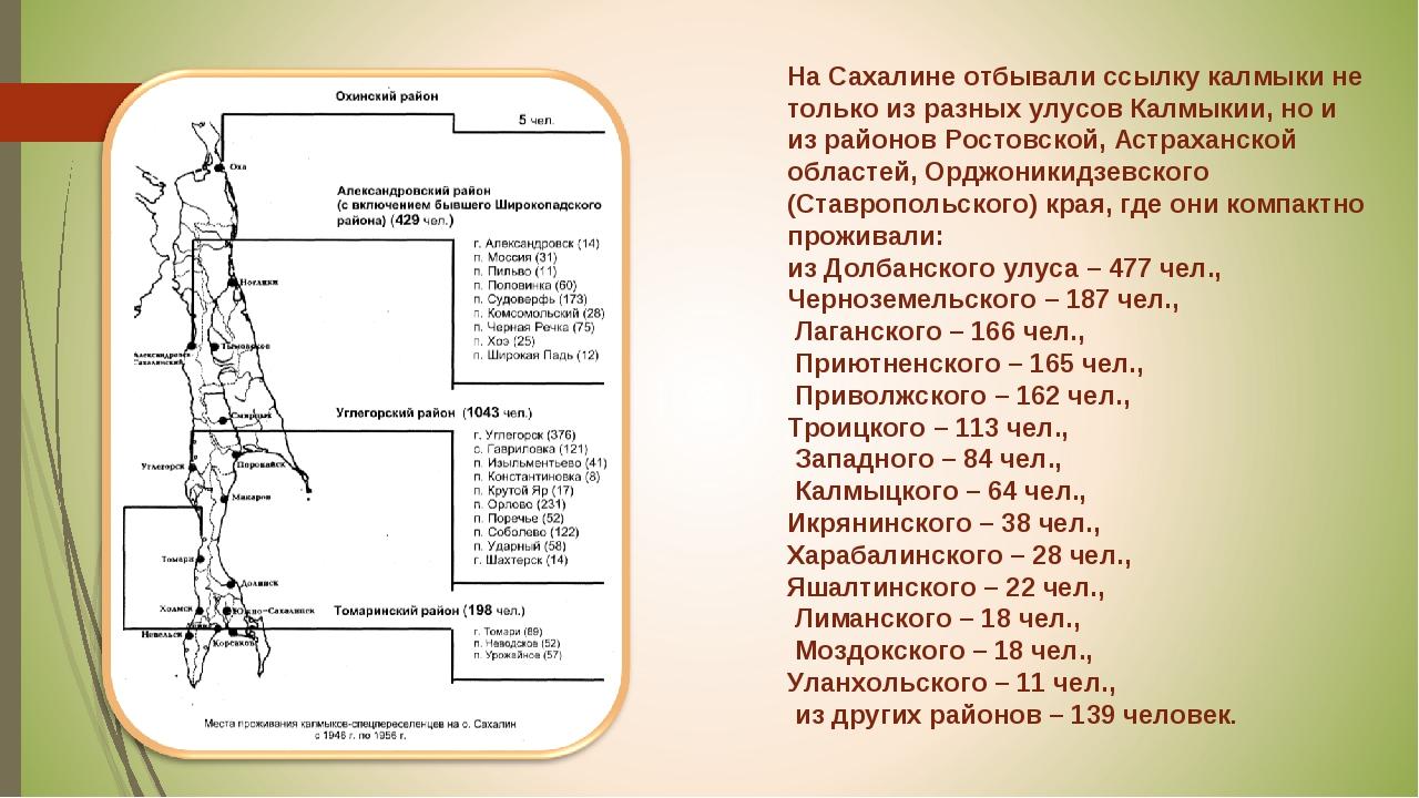 На Сахалине отбывали ссылку калмыки не только из разных улусов Калмыкии, но и...