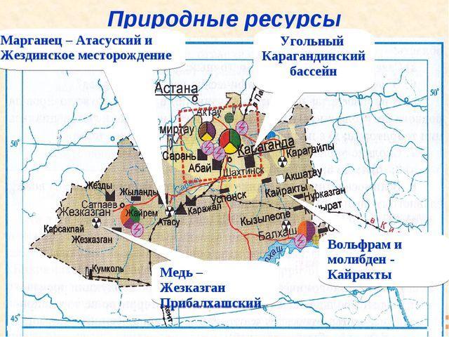 Природные ресурсы Угольный Карагандинский бассейн Марганец – Атасуский и Жезд...