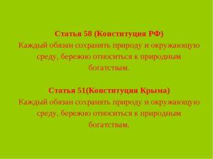 Статья 58 (Конституция РФ) Каждый обязан сохранять природу иокружающую сред