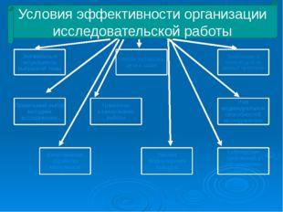 Условия эффективности организации исследовательской работы Значимость и акту