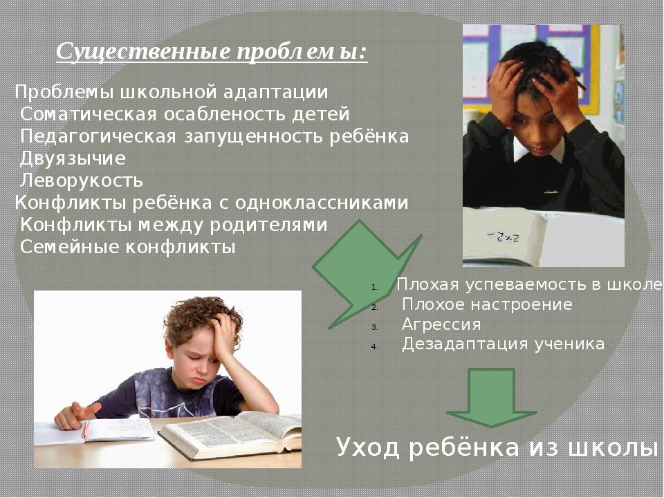 Существенные проблемы: Проблемы школьной адаптации Соматическая осабленость д...