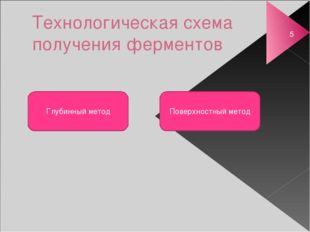 Технологическая схема получения ферментов Глубинный метод Поверхностный метод