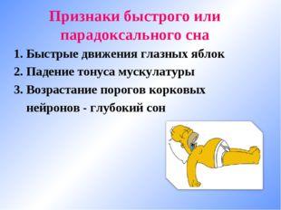 Признаки быстрого или парадоксального сна 1. Быстрые движения глазных яблок 2