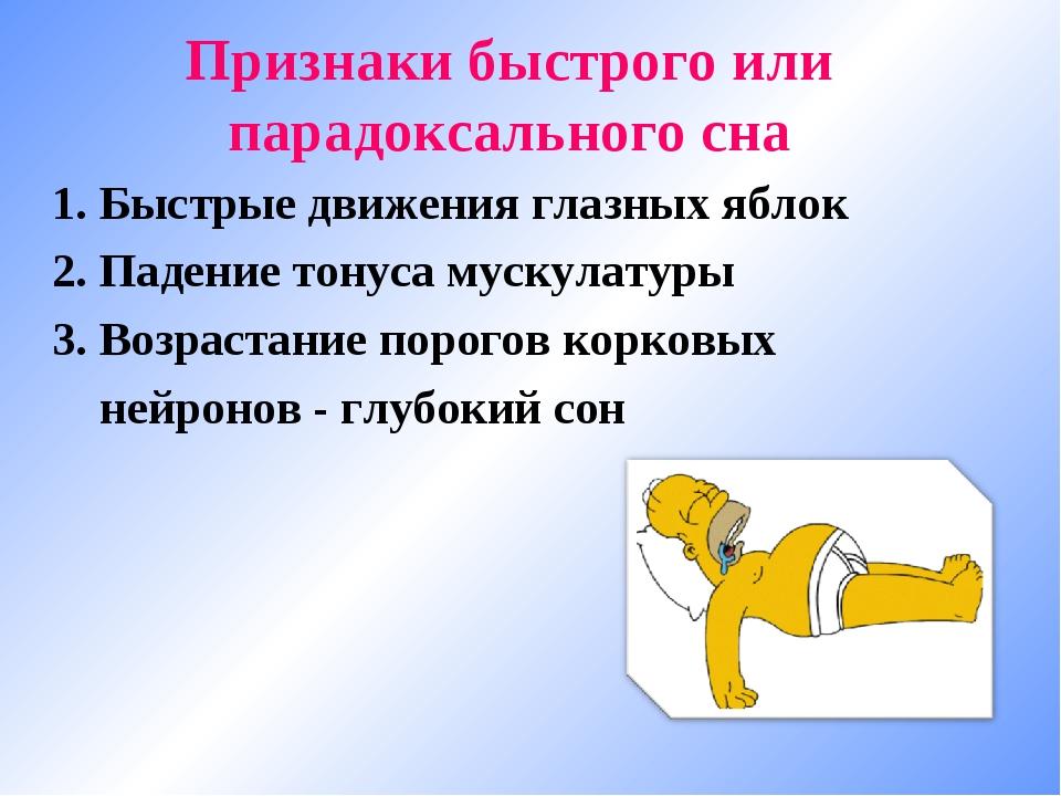 Признаки быстрого или парадоксального сна 1. Быстрые движения глазных яблок 2...