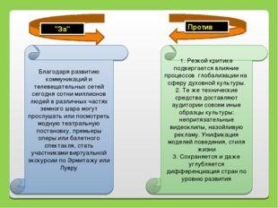 """""""За"""" Против Благодаря развитию коммуникаций и телевещательных сетей сегодня с"""