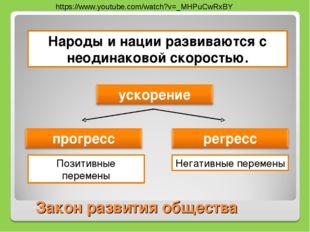 Закон развития общества Народы и нации развиваются с неодинаковой скоростью.