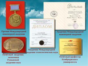 Премия Международной инженерной академии Академик Международной инженерной ак