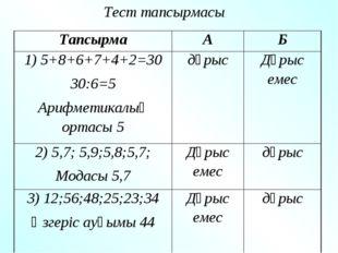 Тест тапсырмасы: ТапсырмаАБ 1) 5+8+6+7+4+2=30 30:6=5 Арифметикалық ортасы
