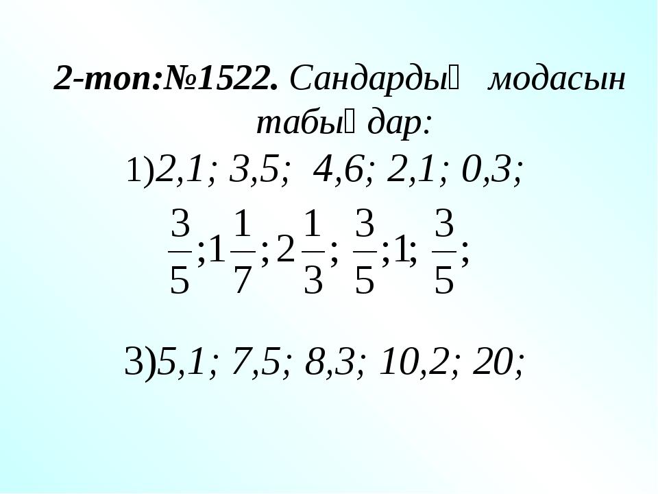 2-топ:№1522. Сандардың модасын табыңдар: 1)2,1; 3,5; 4,6; 2,1; 0,3; 3)5,1; 7,...