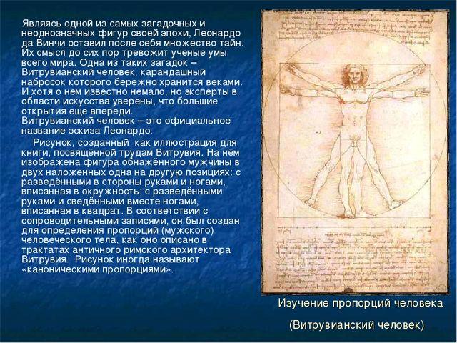 Изучение пропорций человека (Витрувианский человек) Являясь одной из самых за...