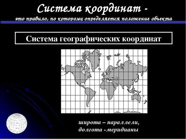 Система географических координат широта – параллели, долгота -меридианы это п...