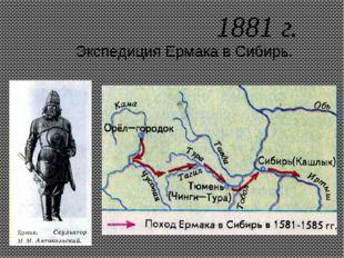 1881 г. Экспедиция Ермака в Сибирь.