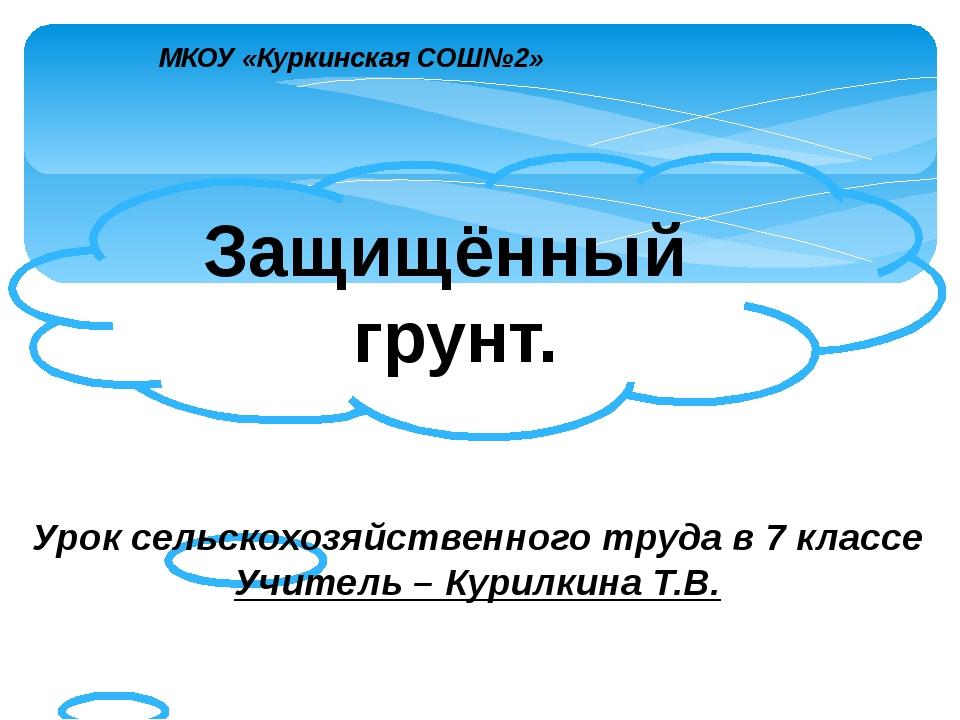Защищённый грунт. МКОУ «Куркинская СОШ№2» Урок сельскохозяйственного труда в...