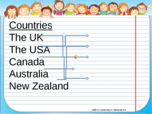 Countries The UK The USA Canada Australia New Zealand Nationalities Americ