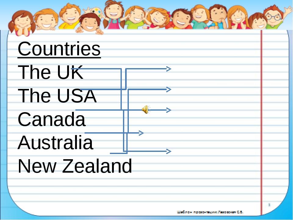 Countries The UK The USA Canada Australia New Zealand Nationalities Americ...