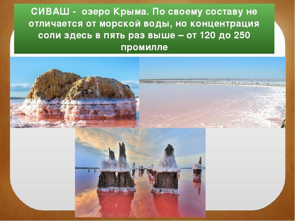 СИВАШ - озеро Крыма. По своему составу не отличается от морской воды, но конц...