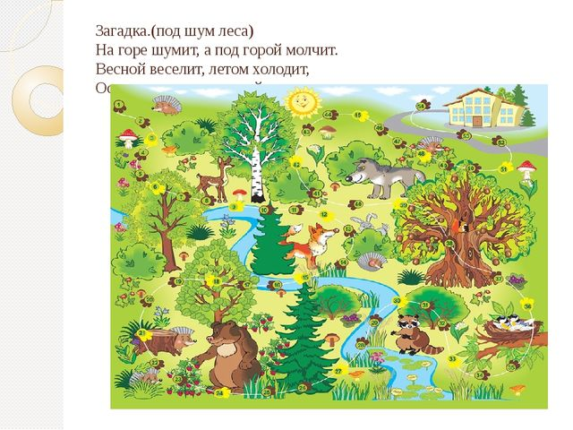 Загадка.(под шум леса) На горе шумит, а под горой молчит. Весной веселит, лет...