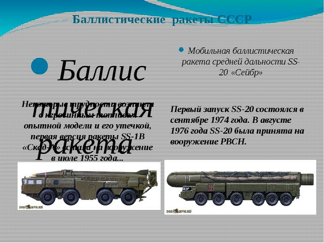 Баллистические ракеты СССР Баллистическая ракета малой дальности SS-1 «Скад»...