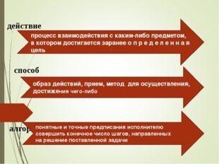 действие алгоритм процесс взаимодействия с каким-либо предметом, в котором до
