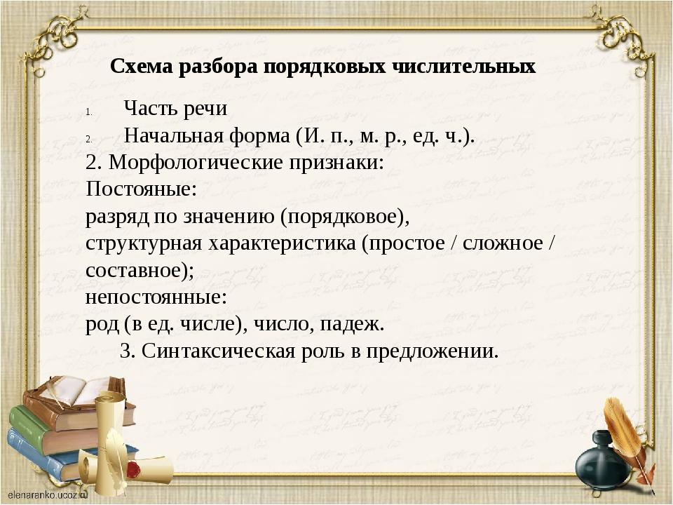 Часть речи Начальная форма (И. п., м. р., ед. ч.). 2. Морфологические признак...