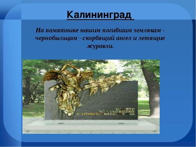 Калининград На памятнике нашим погибшим землякам - чернобыльцам - скорбящий...