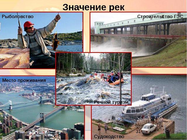 Значение рек Рыболовство Строительство ГЭС Речной туризм Судоходство Место пр...